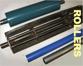 Rollers - side track, centre track, rubber covered, pintle drive, inspection table and cage rollers - standard or special rollers